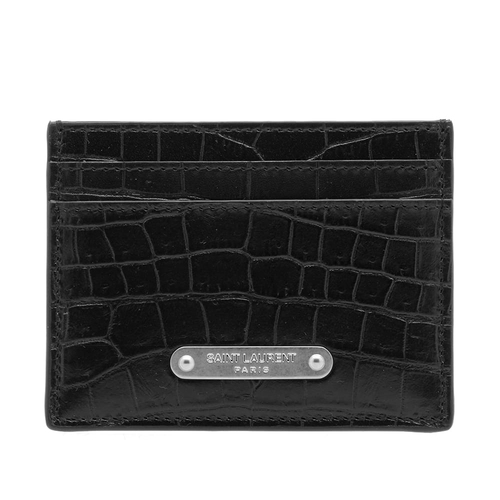 Photo: Saint Laurent ID Logo Croc Card Holder