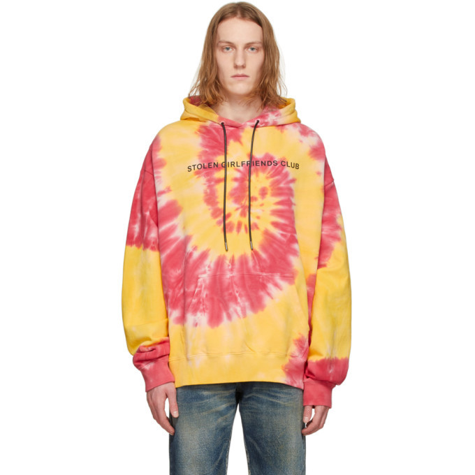 Photo: Stolen Girlfriends Club Red and Yellow Tie-Dye Logo Hoodie