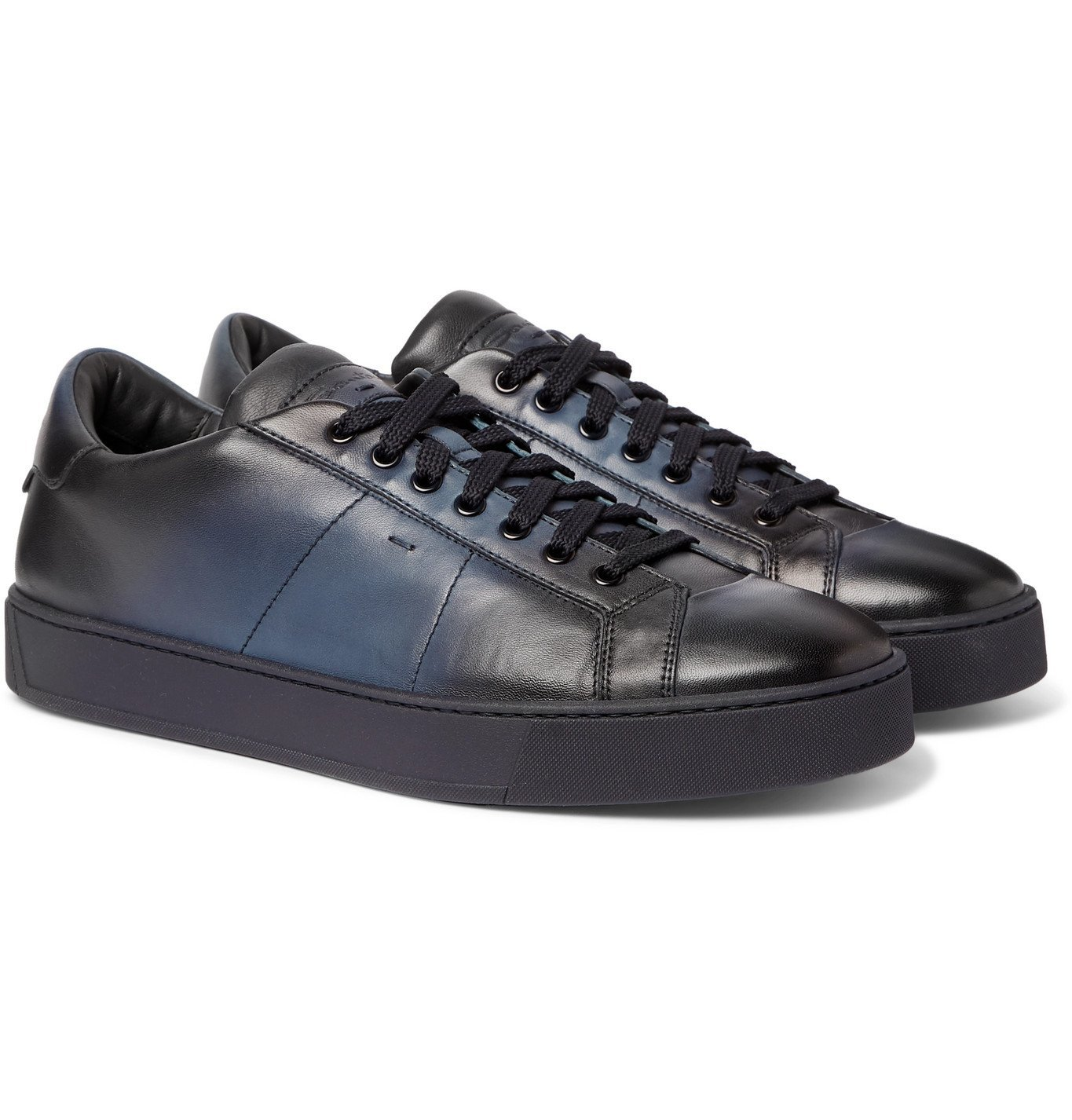 Photo: Santoni - Burnished-Leather Sneakers - Blue