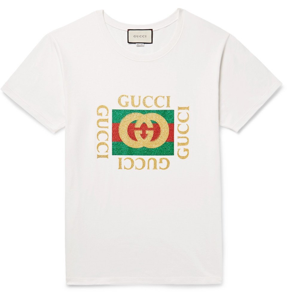 Photo: Gucci - Distressed Glittered Cotton-Jersey T-Shirt - Men - Off-white