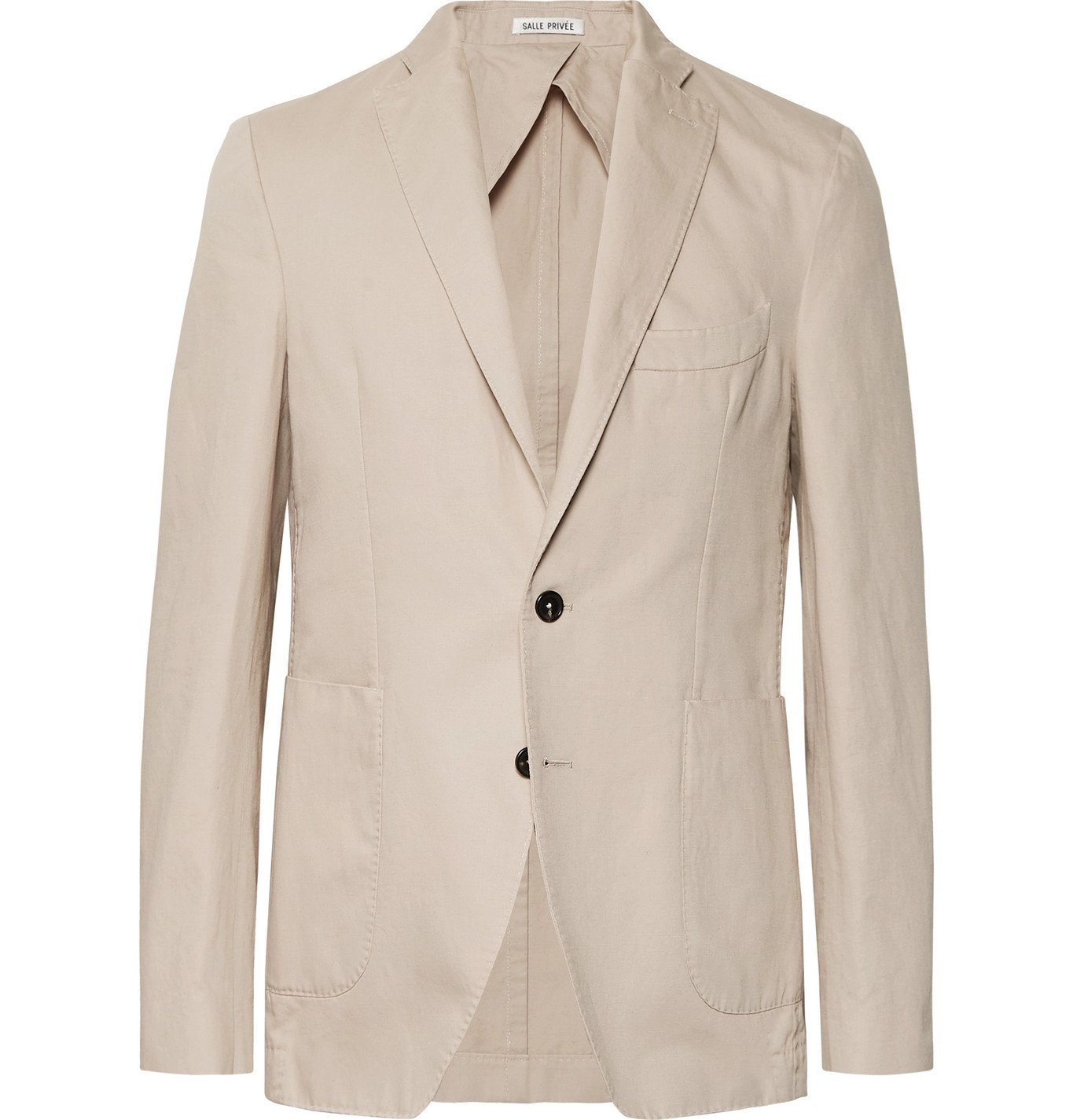 Photo: SALLE PRIVÉE - Sand Ross Slim-Fit Unstructured Cotton and Linen-Blend Twill Blazer - Neutrals