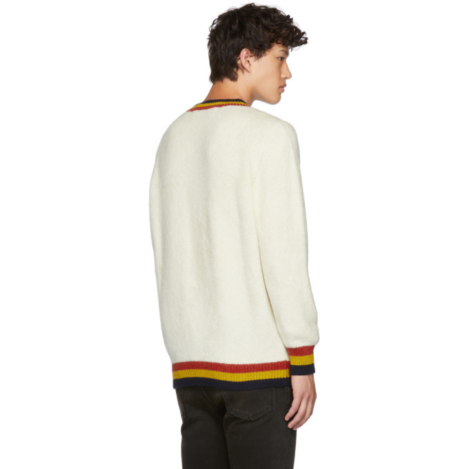 The Elder Statesman White Shag Three-Stripe Crewneck Sweater