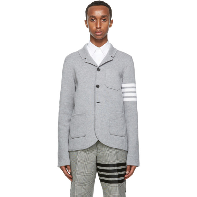 Photo: Thom Browne Grey Merino 4-Bar Sport Coat Blazer