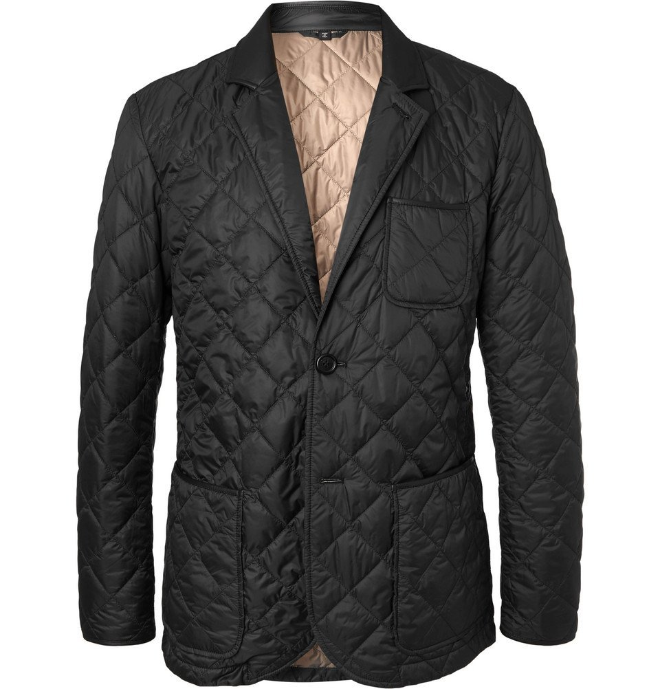 Dunhill - Leather-Trimmed Quilted Shell Blazer - Men - Black