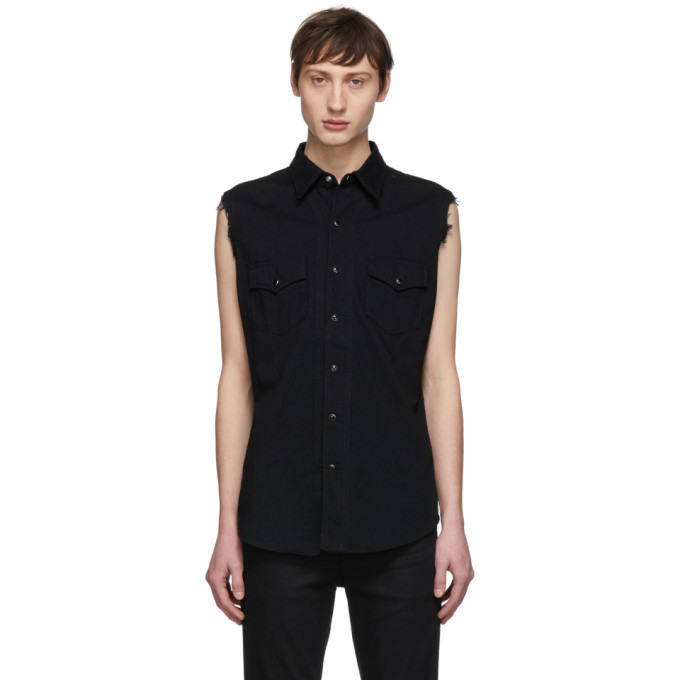 Photo: Saint Laurent Black Denim Destroyed Sleeveless Shirt