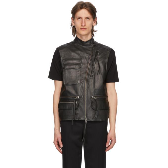 Photo: Haider Ackermann Black Leather Waistcoat Vest