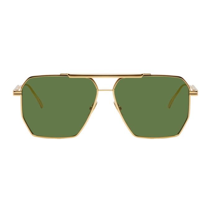 Photo: Bottega Veneta Gold Navigator Sunglasses