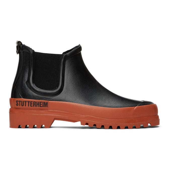 Photo: Stutterheim Black and Orange Rainwalker Chelsea Boots