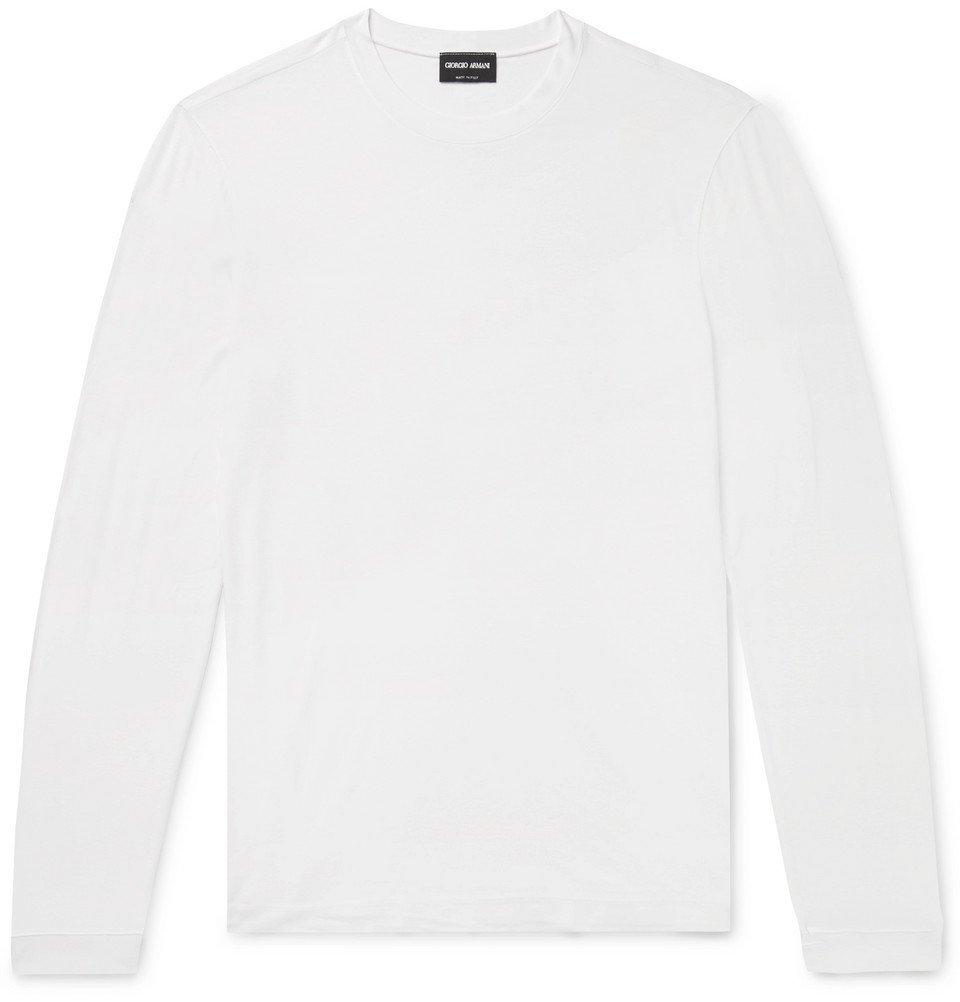 Giorgio Armani - Slim-Fit Stretch-Jersey T-Shirt - White