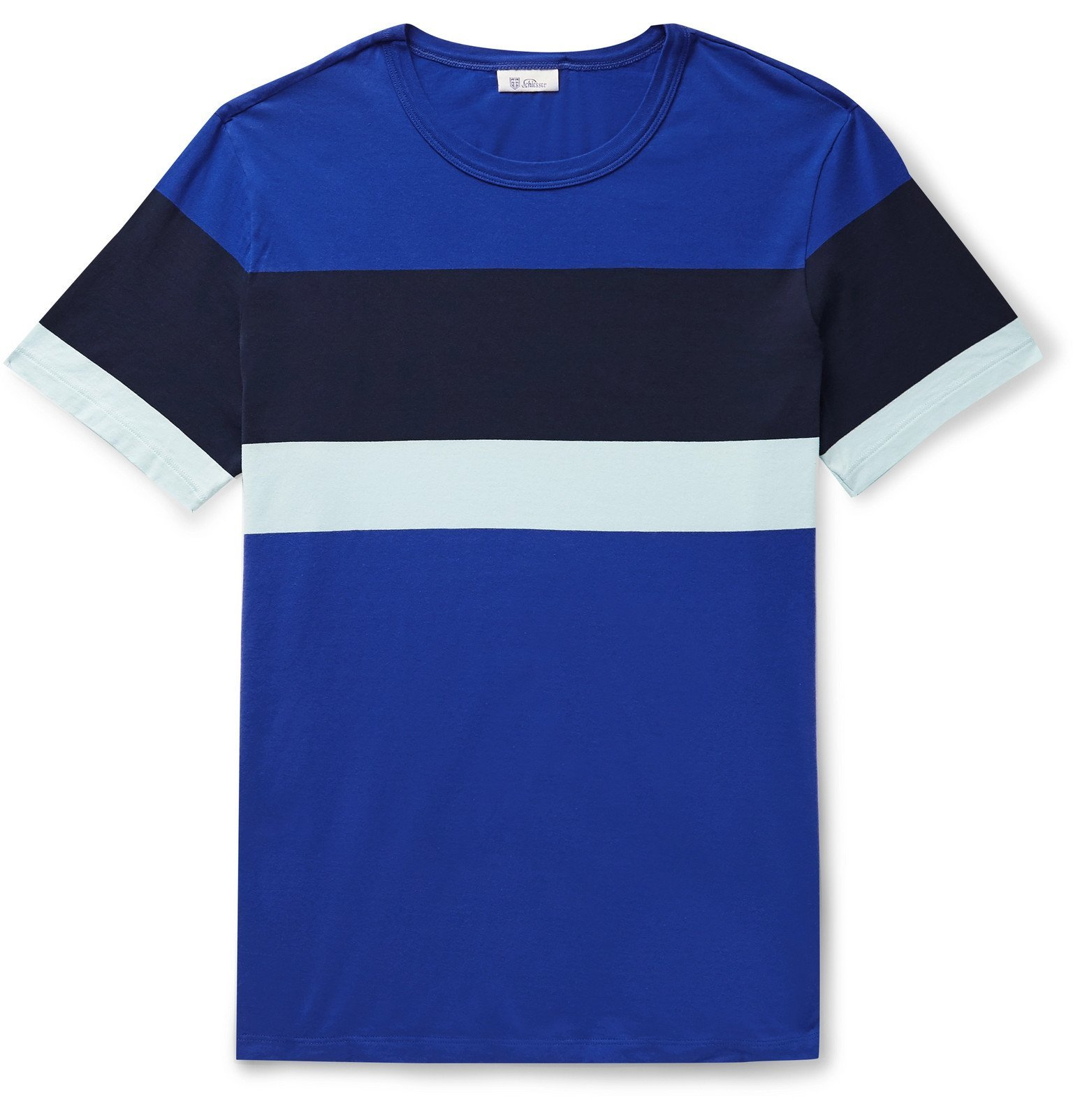 Schiesser - Striped Cotton-Jersey T-Shirt - Blue