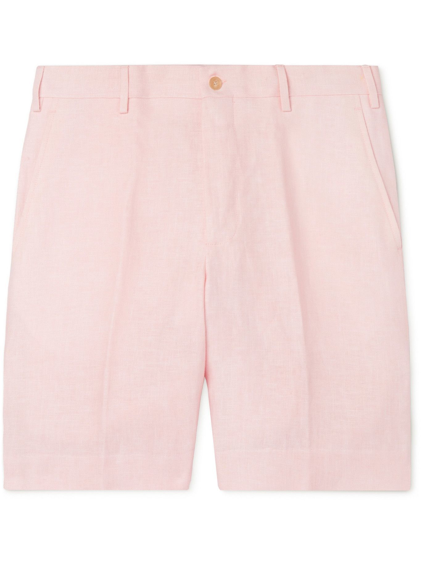 Photo: ANDERSON & SHEPPARD - Wide-Leg Linen Bermuda Shorts - Pink