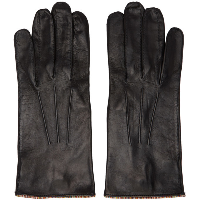 Photo: Paul Smith Black Lambskin Striped Pipping Gloves