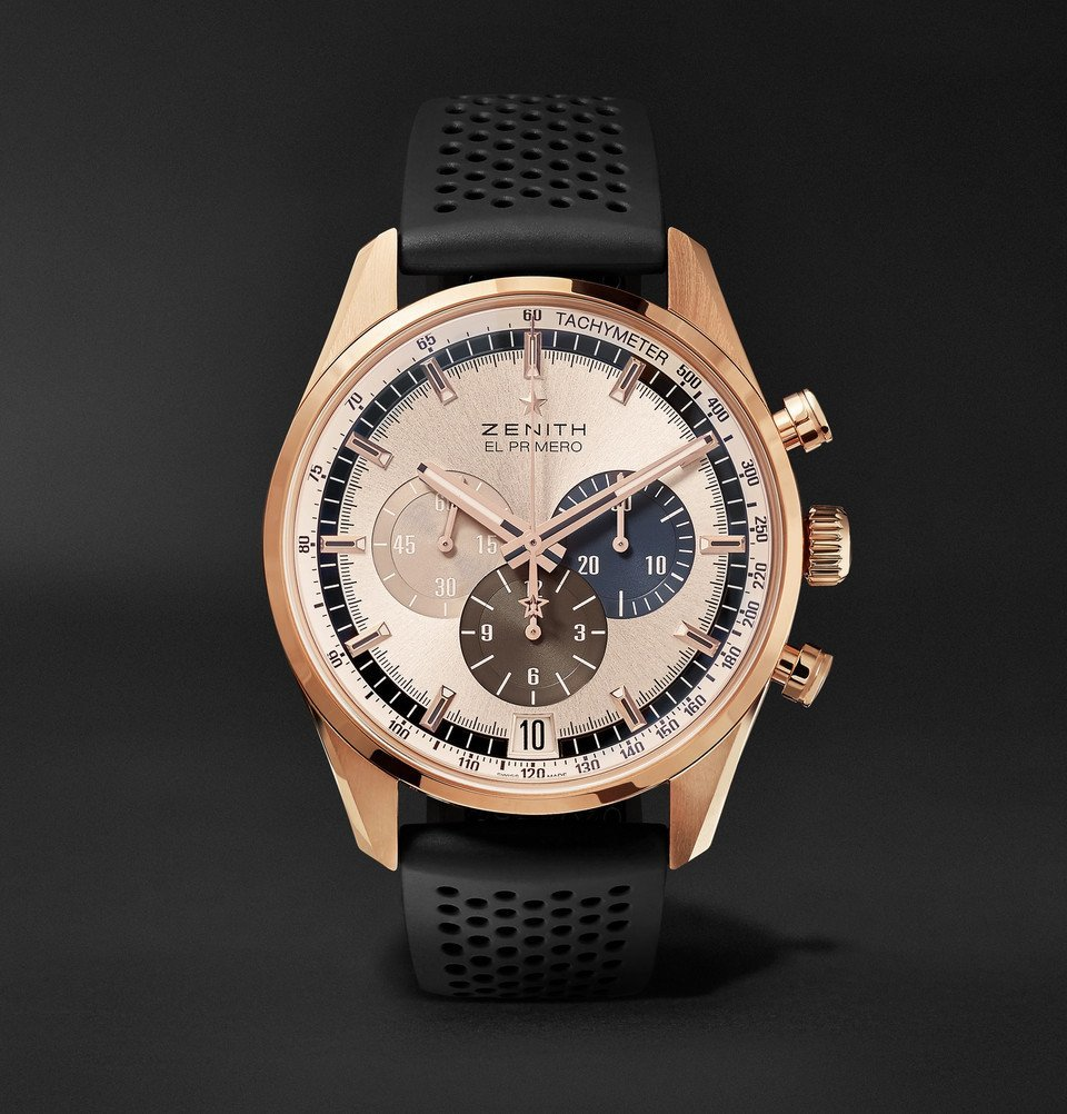 Photo: Zenith - El Primero Chronomaster 1969 42mm Rose Gold and Rubber Watch - Rose gold