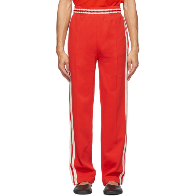 Photo: Wales Bonner Red Palms Crochet Stripe Track Pants