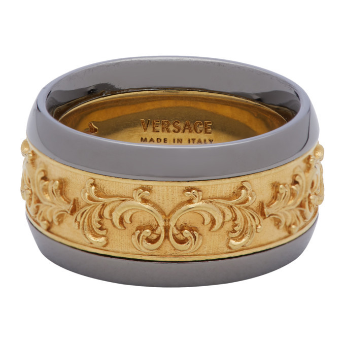 Versace Gold and Gunmetal Brocade Ring