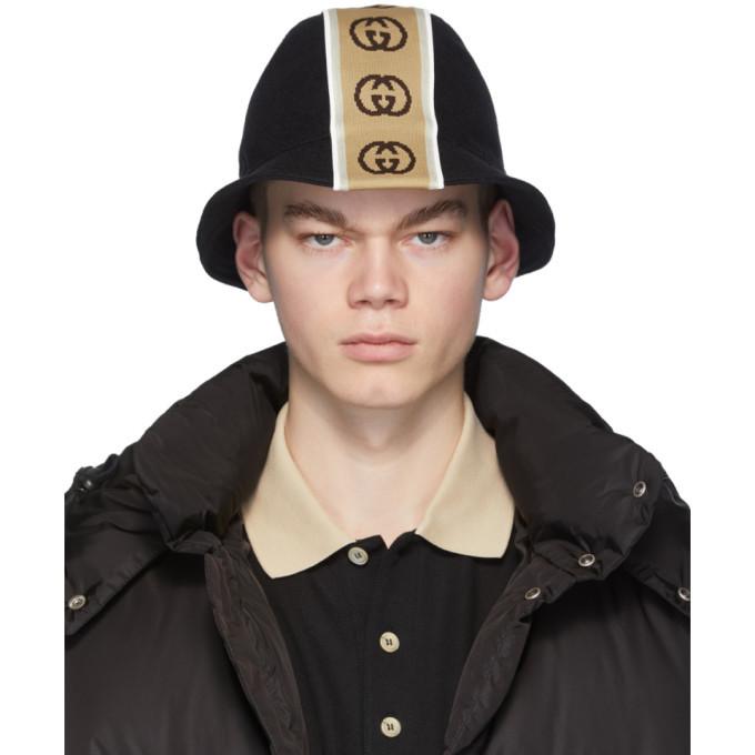 Photo: Gucci Black Logo Stripe Bucket Hat