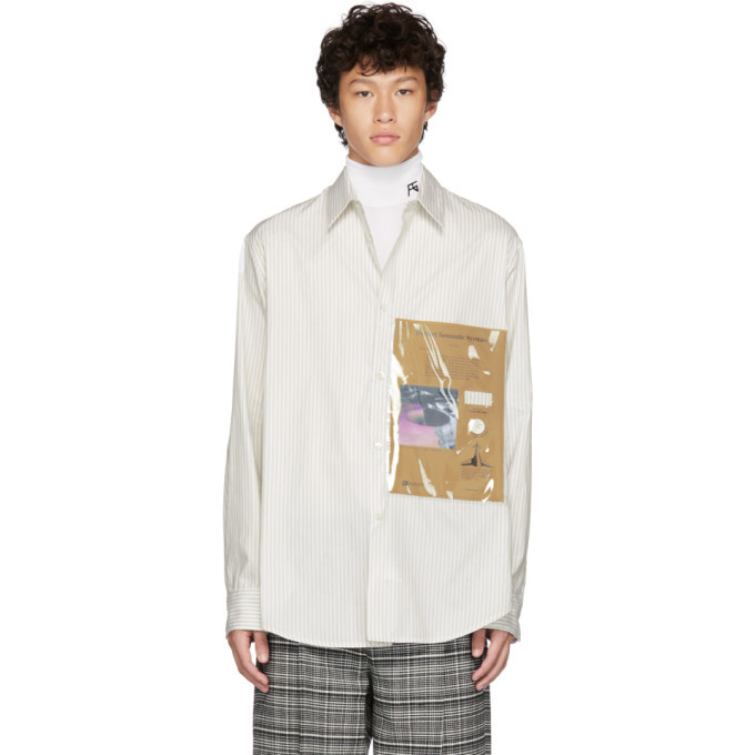 Photo: Raf Simons White and Beige Plastic Pocket Shirt