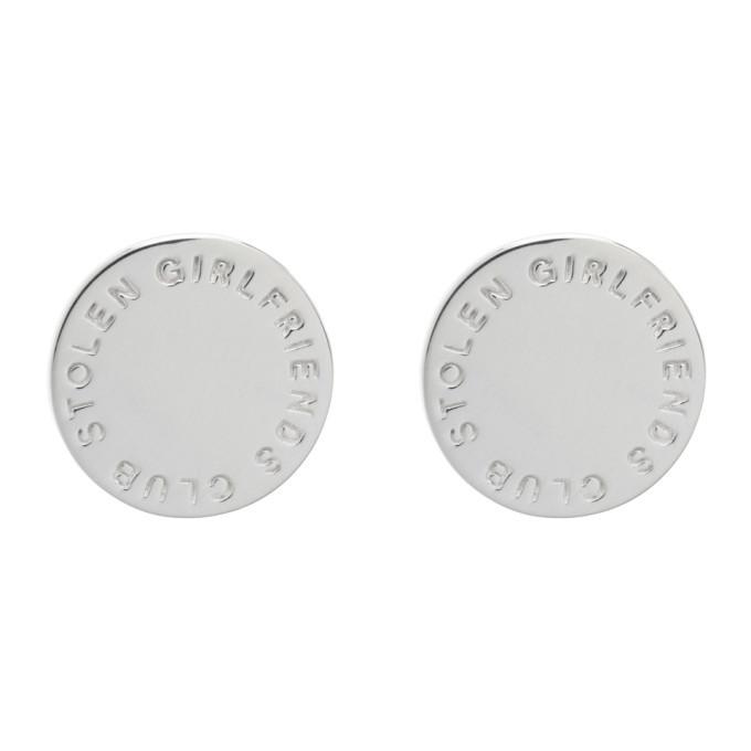 Photo: Stolen Girlfriends Club Silver Text Logo Stamp Earrings