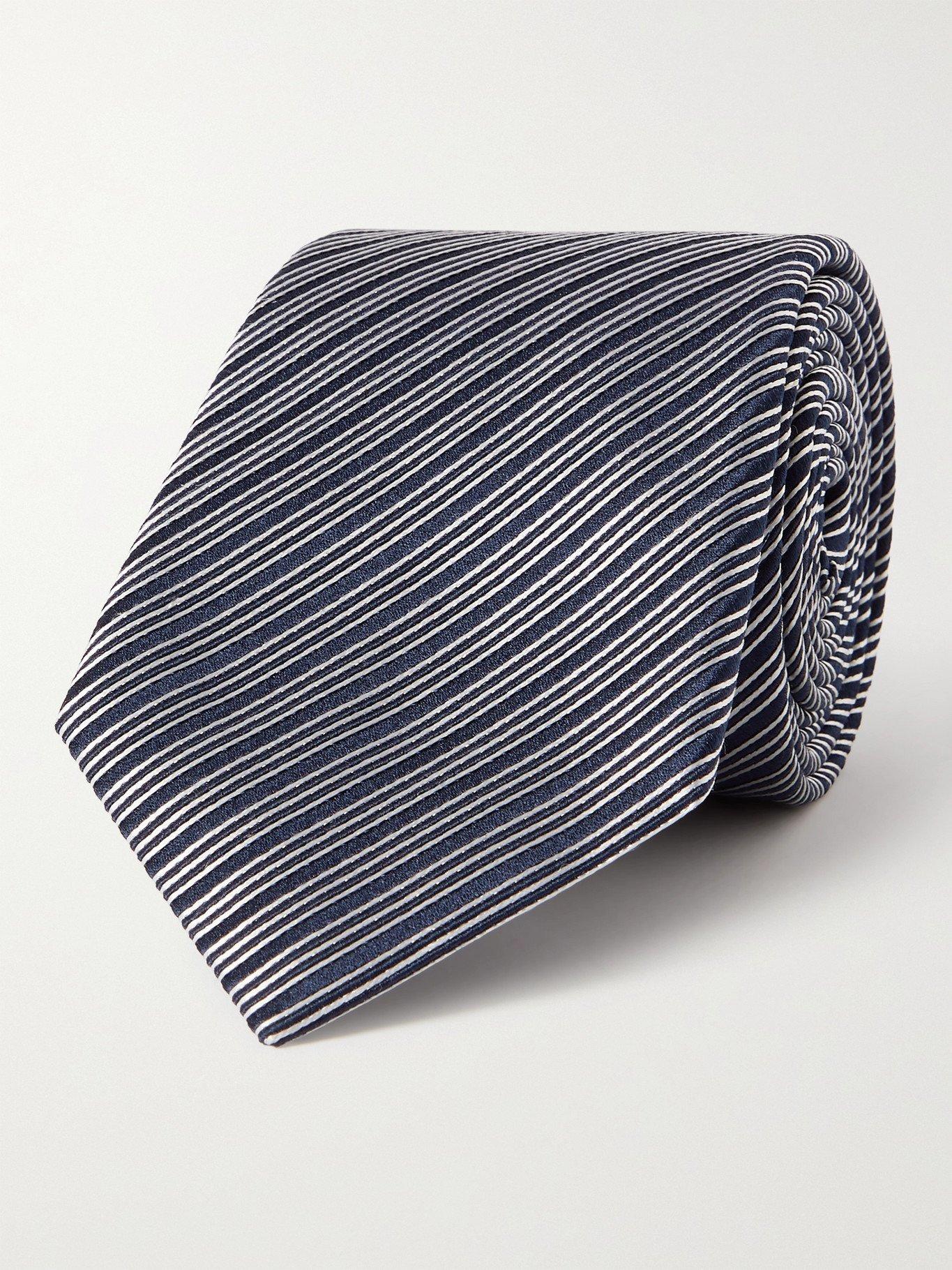 GIORGIO ARMANI - 8cm Striped Silk-Jacquard Tie - Unknown