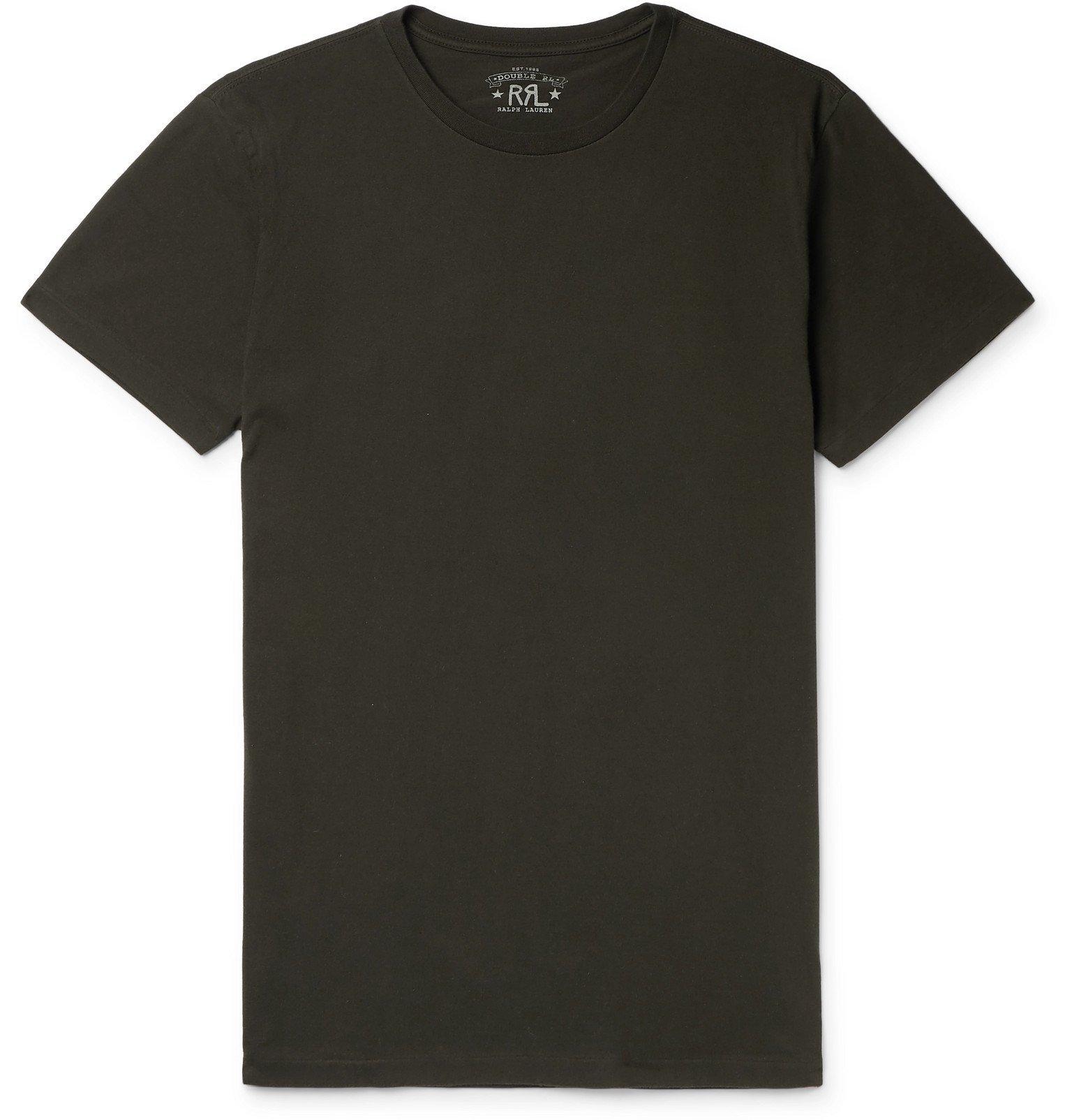 RRL - Logo-Embroidered Cotton-Jersey T-Shirt - Black
