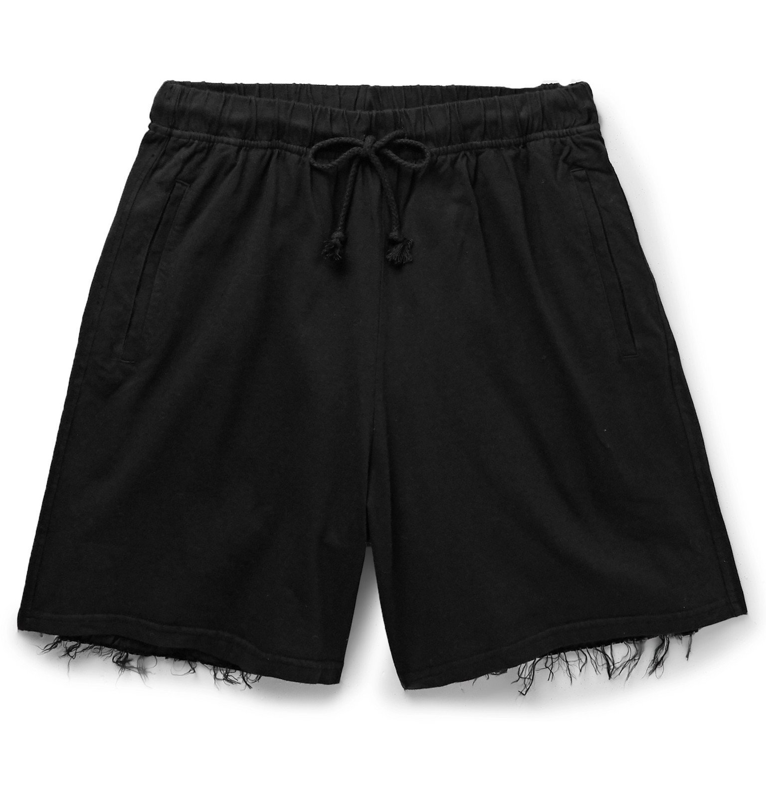 Photo: 424 - Wide-Leg Distressed Cotton Shorts - Black