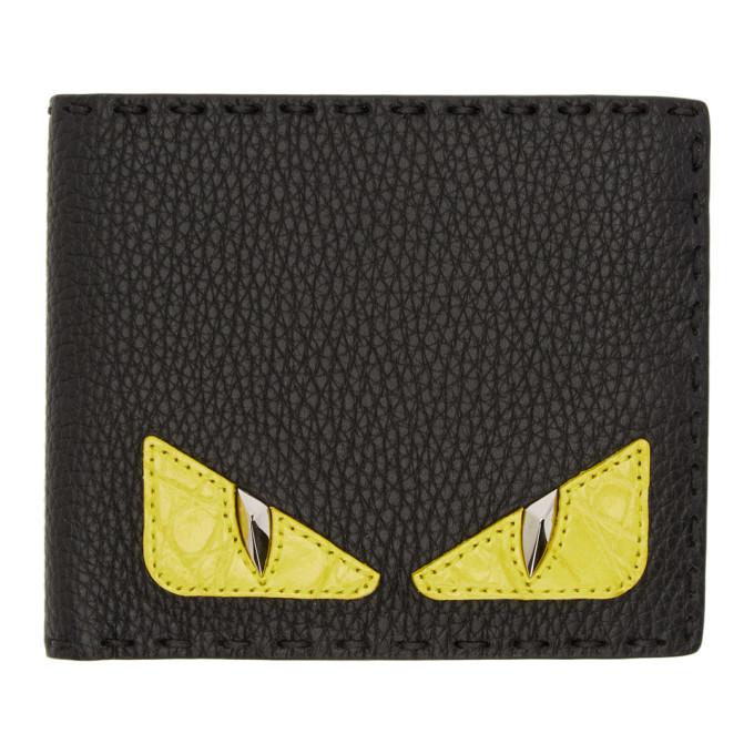 Photo: Fendi Black Croc Bag Bugs Bifold Wallet