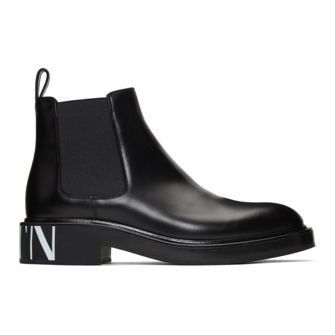 Photo: Valentino Black Valentino Garavani VLTN Chelsea Boots