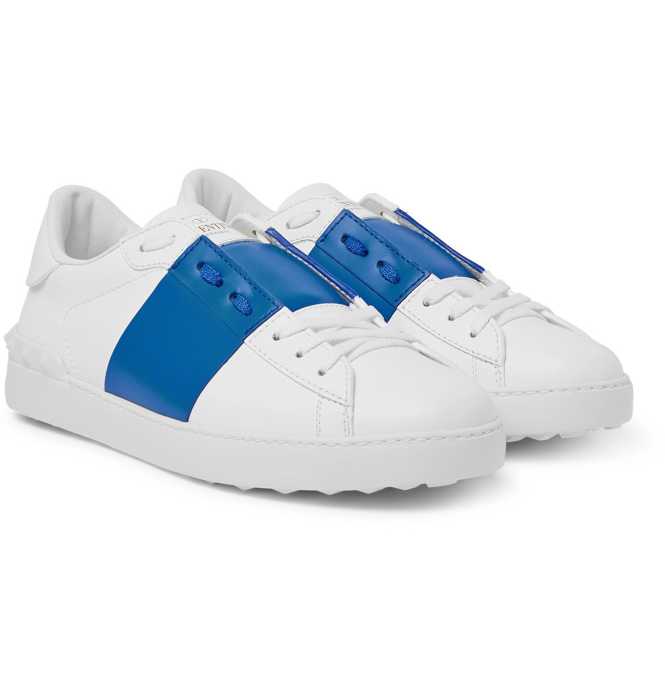 Photo: Valentino - Valentino Garavani Open Striped Leather Sneakers - White