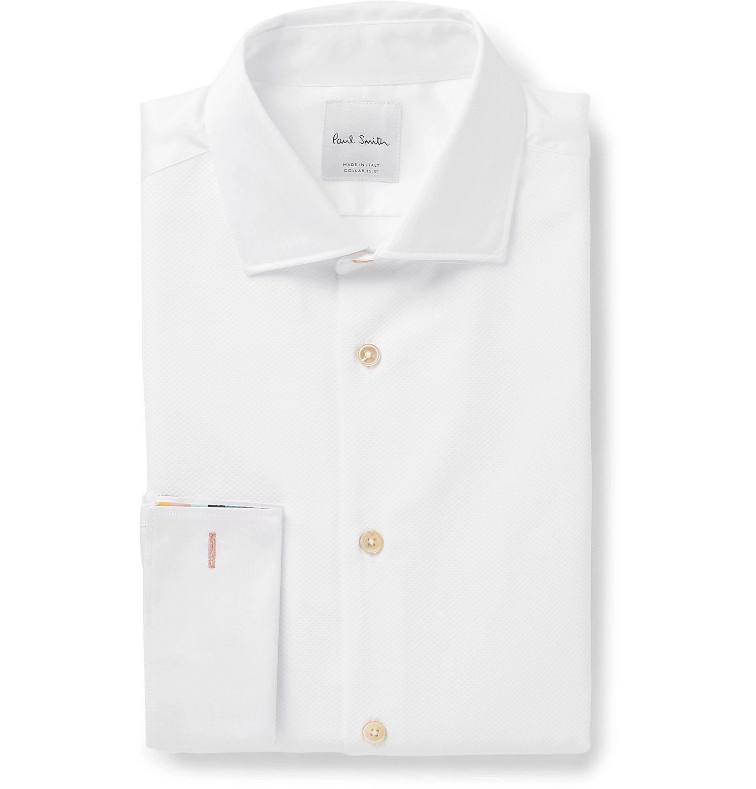 Photo: Paul Smith - White Dynasty Slim-Fit Bib-Front Double-Cuff Cotton Shirt - White