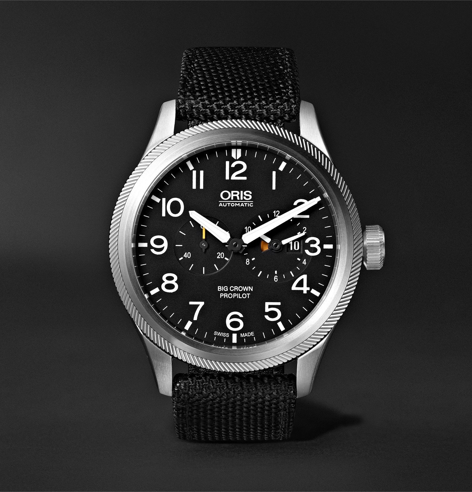 Photo: Oris - Big Crown ProPilot Automatic Chronograph 44.7mm Stainless Steel and NATO Canvas Watch - Black