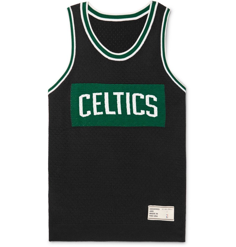 Photo: The Elder Statesman - NBA Celtics Intarsia Cashmere and Silk-Blend Tank Top - Black