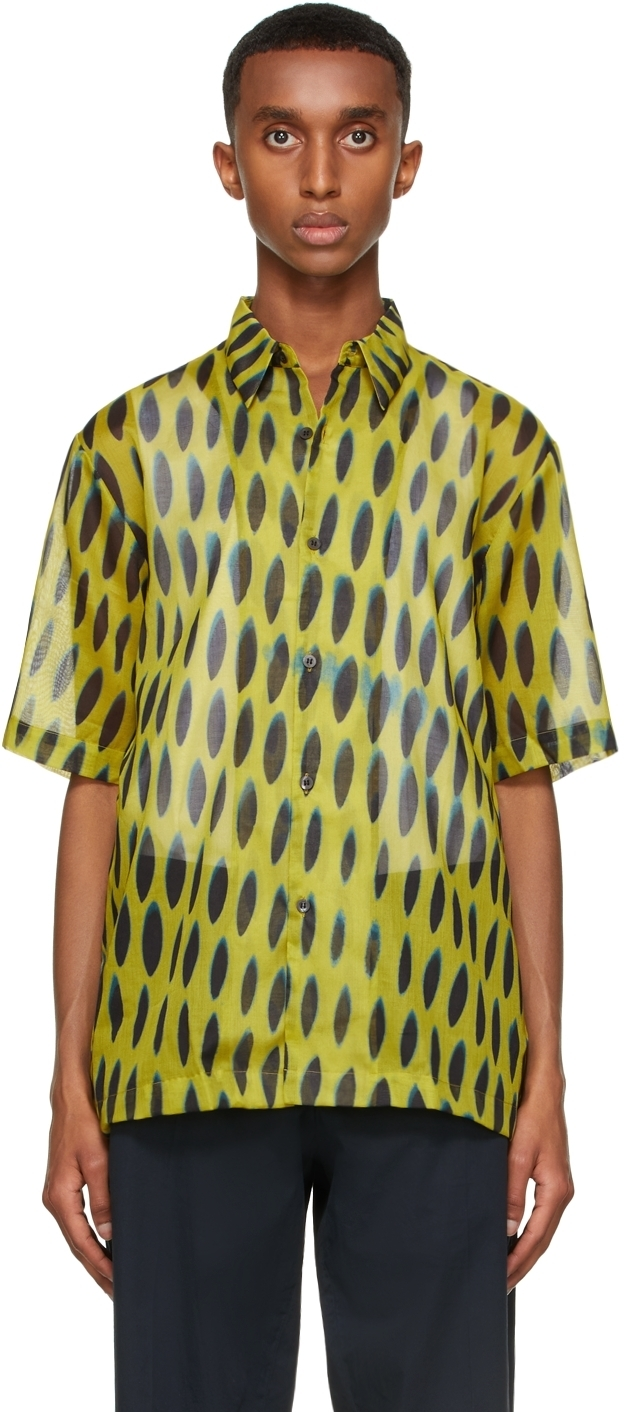 Photo: Dries Van Noten Yellow Len Lye Edition Graphic Short Sleeve Shirt