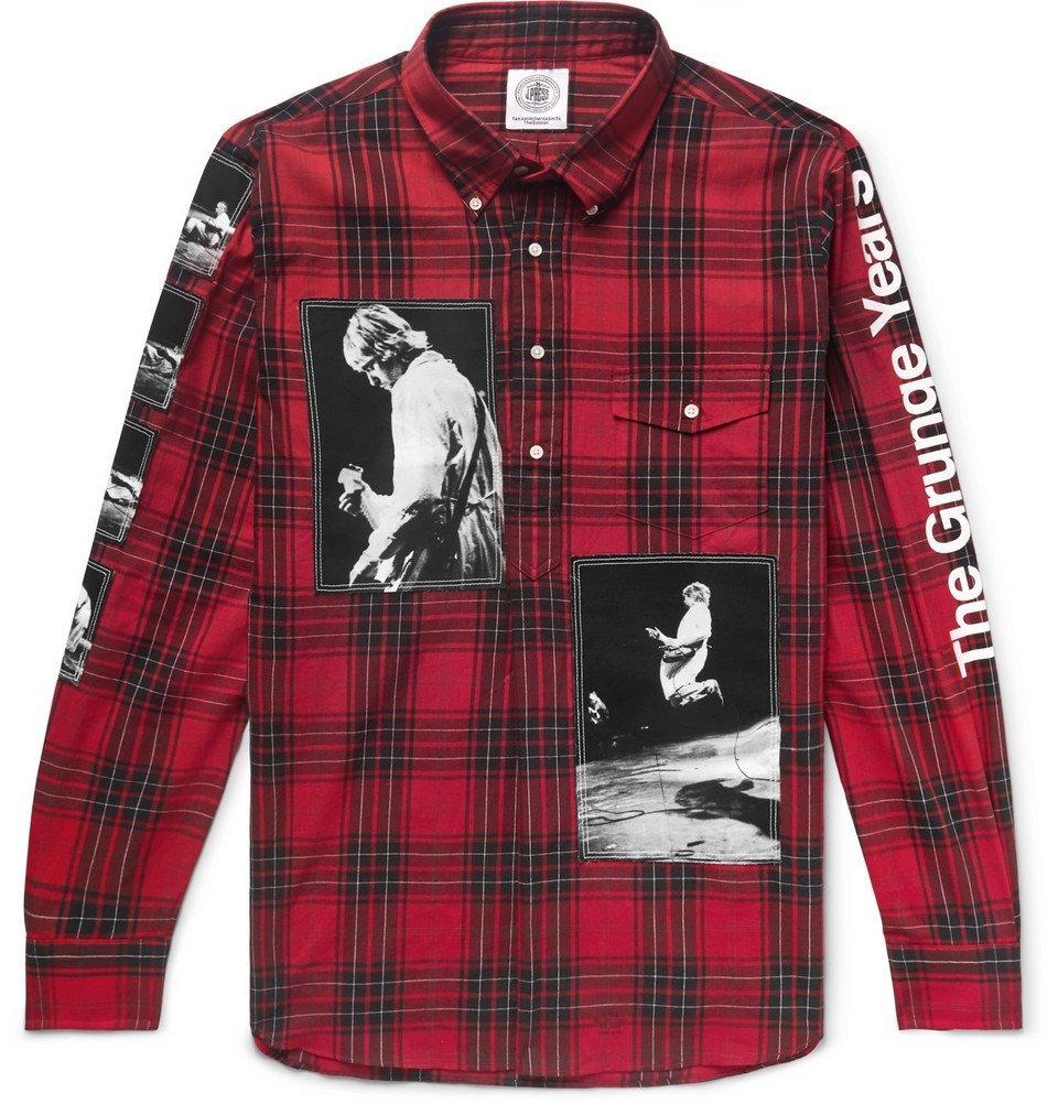 Photo: TAKAHIROMIYASHITA TheSoloist. - Button-Down Collar Appliquéd Checked Cotton Half-Placket Shirt - Red