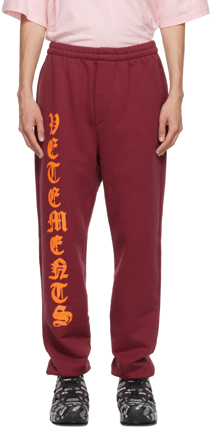 Photo: VETEMENTS Red Anarchy Gothic Logo Lounge Pants