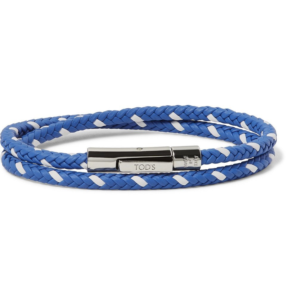 Tod's - Woven Leather and Silver-Tone Wrap Bracelet - Men - Blue