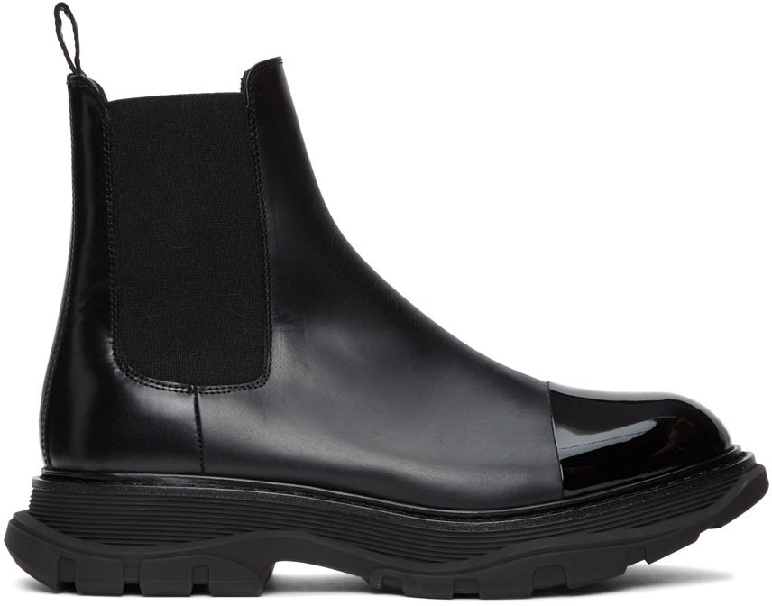 Photo: Alexander McQueen Black Shiny Toe Chelsea Boots