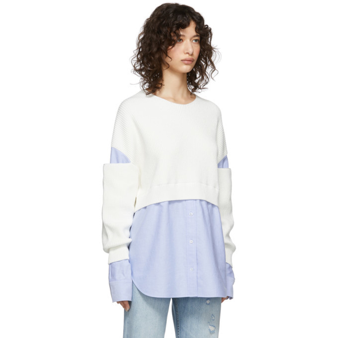 alexanderwang.t Off-White and Blue Bi-Layer Pullover Shirt Sweater