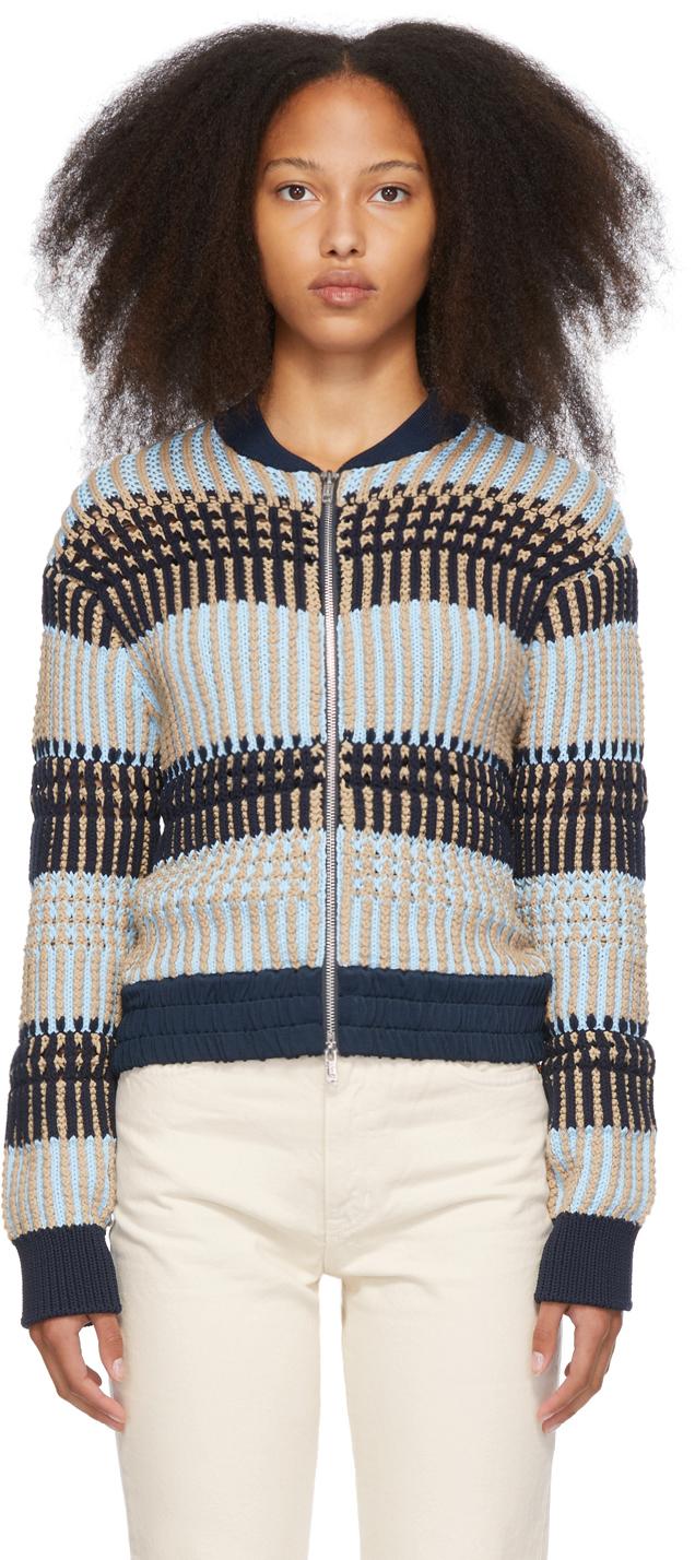 Photo: 3.1 Phillip Lim Blue & Beige Striped Jacket