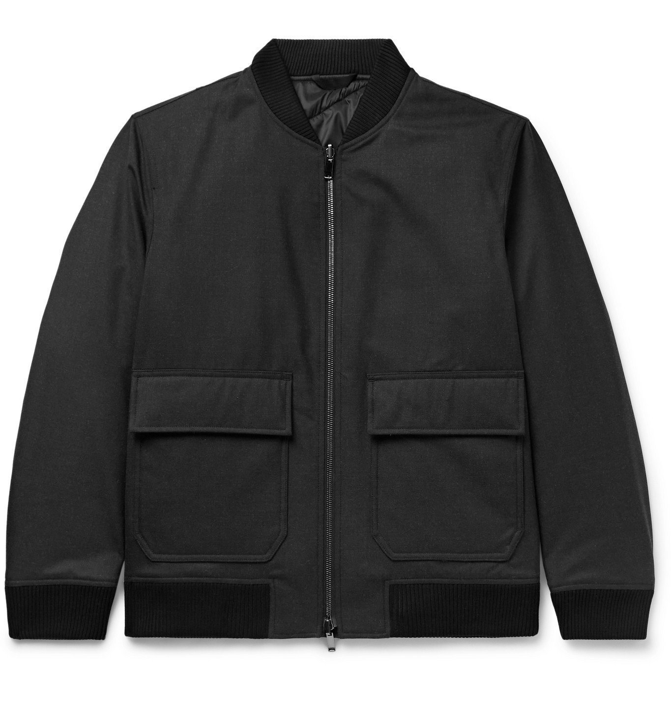 Photo: Theory - Brigade Reversible Mélange Wool-Blend Twill and Quilted Shell Bomber Jacket - Gray