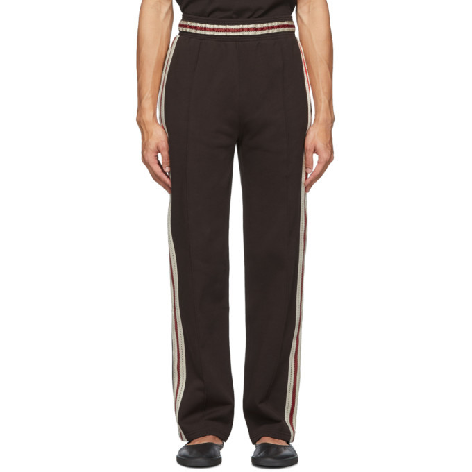Photo: Wales Bonner Brown Palms Crochet Stripe Track Pants