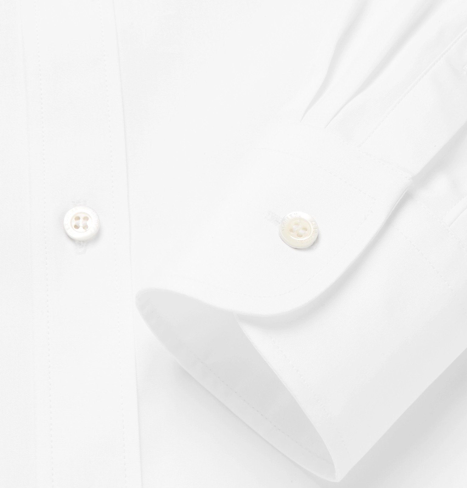 Photo: Alexander McQueen - Embellished Cotton-Poplin Shirt - White