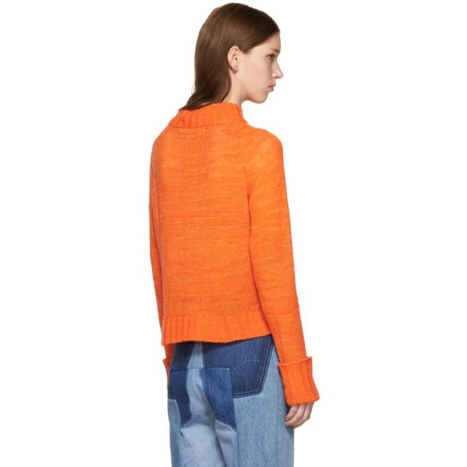 The Elder Statesman Orange Cashmere Cropped Mock Neck Sweater