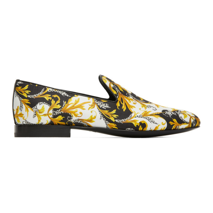 Photo: Versace White and Gold Barocco Loafers