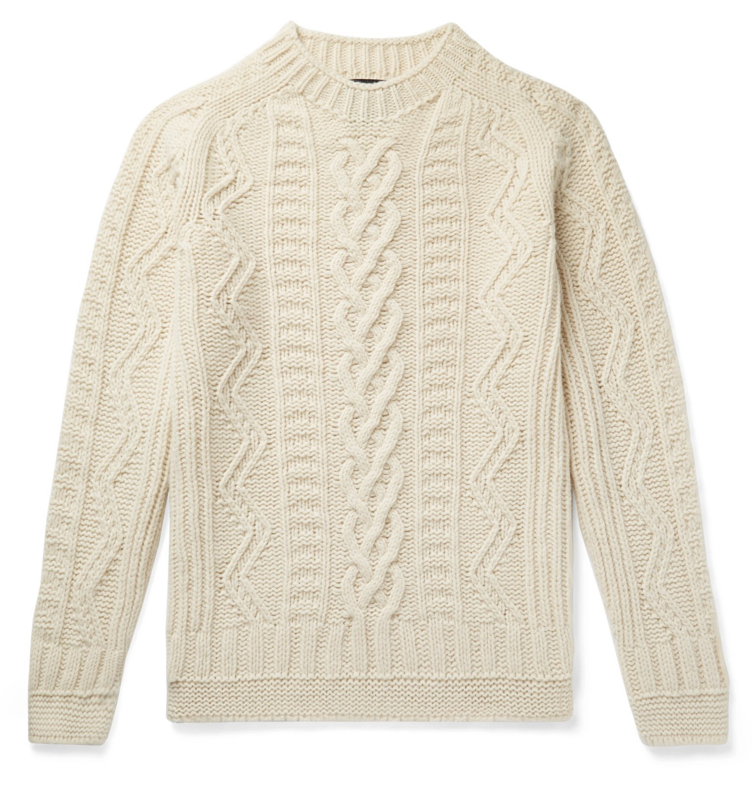 Photo: Howlin' - Slim-Fit Cable-Knit Virgin Wool Sweater - Neutrals