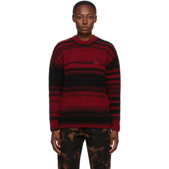 Photo: 032c Black and Red Striped Logo Sweater