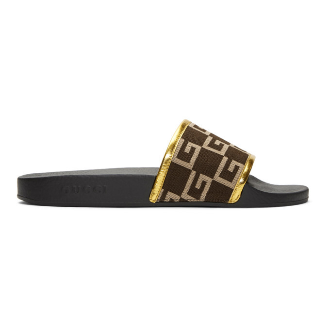 Photo: Gucci Brown Pursuit Logo Slides