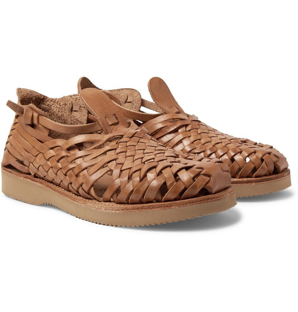 Photo: Yuketen - Cruz Woven Leather Huarache Sandals - Sand