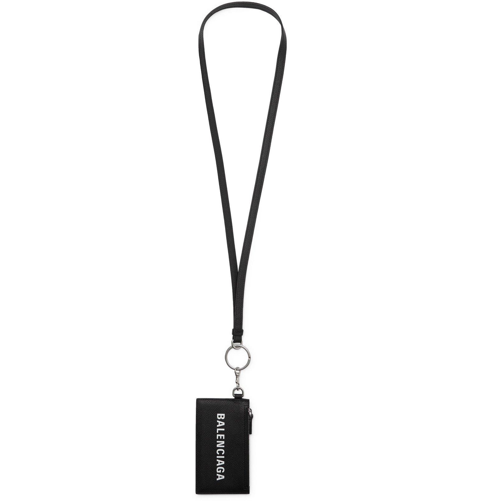 Photo: Balenciaga - Logo-Print Full-Grain Leather Cardholder with Lanyard - Black