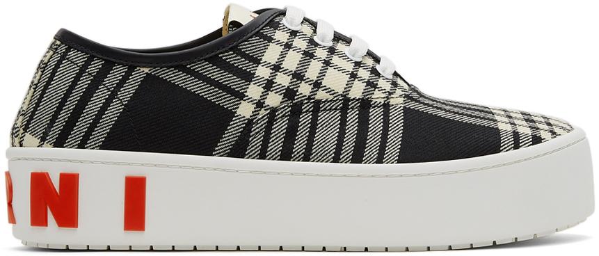 Photo: Marni Black & White Wool Tartan Sneakers