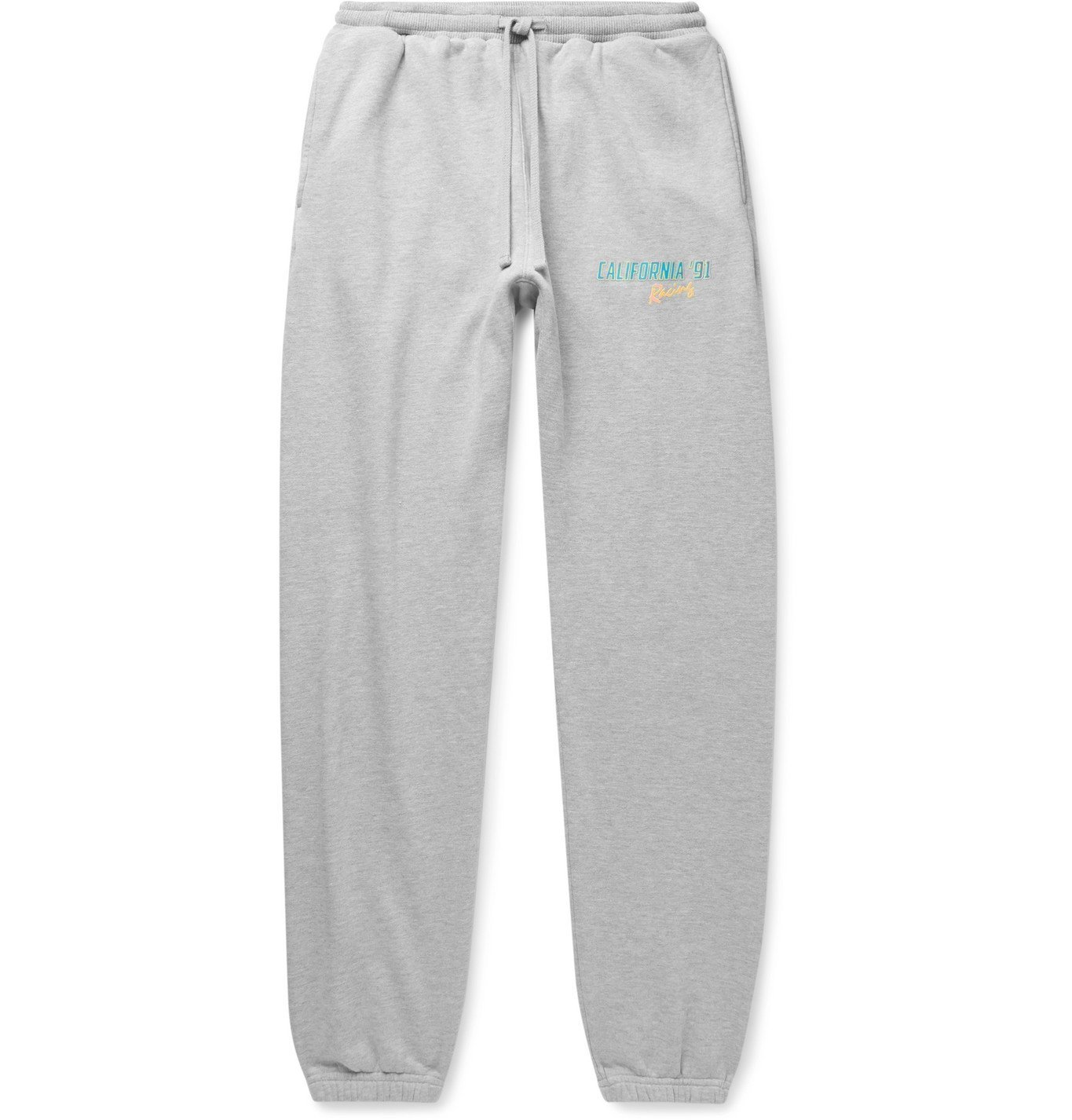 Photo: Pasadena Leisure Club - California '91 Logo-Print Mélange Fleece-Back Cotton-Jersey Sweatpants - Gray
